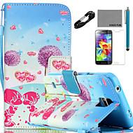 Для Бумажник для карт / Кошелек / со стендом / Флип / С узором Кейс для Чехол Кейс для Одуванчик Твердый Искусственная кожа SamsungS5