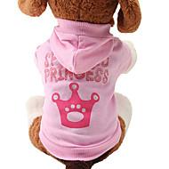 Недорогие Товары для дома и питомцев-Кошка Собака Толстовки Одежда для собак Тиары и короны Розовый Хлопок Костюм Для домашних животных Жен. Очаровательный Мода
