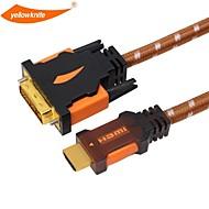 DVIケーブル高速金にイエローナイフのHDMIはHDTVのXboxのPS3用オス - オス1080プラグメッキ