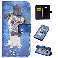 Для Кейс для  Samsung Galaxy Бумажник для карт / со стендом / Флип / С узором / Магнитный Кейс для Чехол Кейс для С собакойИскусственная