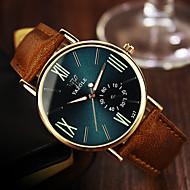 Недорогие Фирменные часы-YAZOLE Муж. Наручные часы Повседневные часы Кожа Группа На каждый день Коричневый / Нержавеющая сталь / SSUO 377