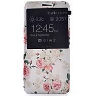 Недорогие Чехлы и кейсы для Galaxy A3(2016)-Кейс для Назначение SSamsung Galaxy Кейс для  Samsung Galaxy со стендом с окошком Флип Чехол Цветы Искусственная кожа для A7(2016)