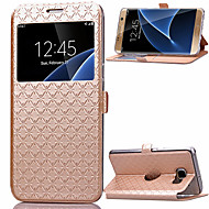 Недорогие Чехлы и кейсы для Galaxy S7-Кейс для Назначение SSamsung Galaxy Samsung Galaxy S7 Edge Бумажник для карт / со стендом / с окошком Чехол Геометрический рисунок Кожа PU для S8 Plus / S8 / S7 edge