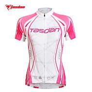 お買い得  -TASDAN 女性用 半袖 サイクリングジャージー ブルー ピンク バイク ジャージー トップス 高通気性 速乾性 抗紫外線 スポーツ ポリエステル100% マウンテンサイクリング ロードバイク 衣類 / 伸縮性あり / モイスチャーコントロール