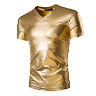 Men's Daily Sports Weekend Basic / Exaggerated Cotton Slim T-shirt - Solid Colored Gold L / Short Sleeve