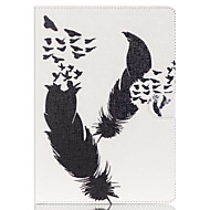 Недорогие Чехлы и кейсы для Galaxy Tab E 9.6-Кейс для Назначение Samsung Бумажник для карт Кошелек со стендом С узором Авто Режим сна / Пробуждение Чехол  Перья Твердый Кожа PU для