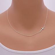 お買い得  -女性用 ペンダントネックレス  -  十字架 欧風, シンプルなスタイル, 横向きに シルバー, ゴールデン ネックレス ジュエリー 用途 日常, カジュアル