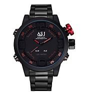 ASJ Herre Armbåndsur Japansk Quartz LED Kalender Vannavvisende Dobbel Tidssone alarm Digital Rustfritt stål Band Svart