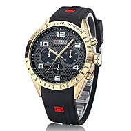 저렴한 -CURREN 남성용 손목 시계 밀리터리 시계 석영 일본 쿼츠 캐쥬얼 시계 고무 밴드 사치 블랙 블루