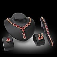 お買い得  -女性用 合成ダイヤモンド ジュエリーセット  -  クリスタル, ラインストーン, ゴールドメッキ ぜいたく 含める フクシャ / レッド 用途 結婚式 パーティー / 18Kゴールド / イミテーションダイヤモンド / リング / イヤリング・ピアス / ネックレス