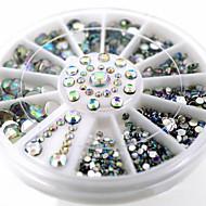 halpa Kynsitaide-Nail Jewelry-Lovely-Sormi-Akryyli-6cm wheel-1wheel White AB nail decorations