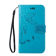 Для Кейс для  Samsung Galaxy Бумажник для карт / со стендом / Флип / Рельефный / Магнитный Кейс для Чехол Кейс для БабочкаИскусственная