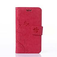 Capinha Para Samsung Galaxy Samsung Galaxy Capinhas Porta-Cartão Carteira Com Suporte Flip Com Relevo Corpo Inteiro Flor Couro Ecológico