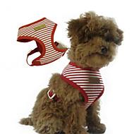 お買い得  -犬 ハーネス 調整可能 / 引き込み式 縞柄 ファブリック レッド ブルー