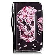 Для Кейс для  Samsung Galaxy Бумажник для карт / Кошелек / со стендом / Флип Кейс для Чехол Кейс для Череп Искусственная кожа Samsung J5
