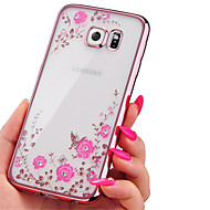 Кейс для Назначение SSamsung Galaxy Кейс для  Samsung Galaxy Стразы Покрытие Прозрачный С узором Задняя крышка Цветы TPU для A7(2016)