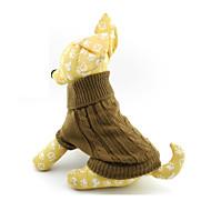 저렴한 -고양이 강아지 스웨터 강아지 의류 솔리드 브라운 울 코스츔 제품 모든계절 & 가을 겨울 남성용 여성용