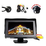 """4,3 """"színes LCD monitor + 360 ° elöl / oldalt / hátul fordított parkoló hd kamera"""
