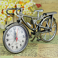 New Brown Analog Travel Desk Alarm Clock DIY Bicycle Bike Model Battery Operated