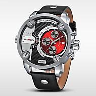Недорогие Фирменные часы-WEIDE Муж. Армейские часы Наручные часы Кварцевый Японский кварц 30 m Защита от влаги Календарь С двумя часовыми поясами Кожа Группа Аналоговый Роскошь Черный - Черный Красный Синий