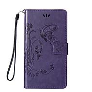 Для Кейс для  Samsung Galaxy Бумажник для карт / со стендом / Флип / Рельефный / Магнитный Кейс для Чехол Кейс для Бабочка Твердый