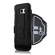 Для Кейс для  Samsung Galaxy Защита от удара / со стендом / Нарукавная повязка Кейс для С ремешком на руку Кейс для Один цвет Твердый PC