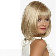 お買い得  -人工毛ウィッグ ストレート ブロンド バング付き 合成 サイドパート ブロンド かつら 女性用 ショート / ミディアム キャップレス ブロンド