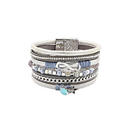 Dame Charm-armbånd Wrap Armbånd Læder Armbånd Frynsetip(s) Mode Boheme Stil luksus smykkerPerle Krystal Læder Akryl Harpiks Rhinsten