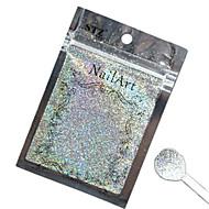 1PCSネイルアート美しい色の銀レーザーグリッターパウダーネイルDIYの装飾L03
