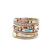 Dame Charm-armbånd Wrap Armbånd Læder Armbånd Mode Boheme Stil luksus smykkerPerle Krystal Læder Akryl Harpiks Rhinsten Imitation Diamond