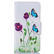Недорогие Чехлы и кейсы для Galaxy Grand Prime-Кейс для Назначение SSamsung Galaxy Кейс для  Samsung Galaxy Бумажник для карт Кошелек со стендом Флип Чехол Цветы Мягкий Кожа PU для J5