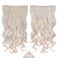 "blonde synthetisch clip in hair extensions 24 ""(60cm) # 60 120g lang golvend krullend 5clips resistent haar"