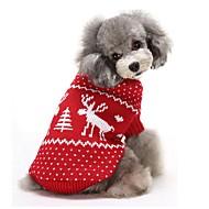 Cica Kutya Pulóverek Kutyaruházat Melegen tartani Karácsony Rénszarvas Piros Kék Jelmez Háziállatok számára