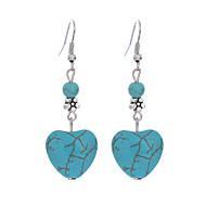 여성용 터코아즈 두 돌 드랍 귀걸이 은 도금 터키석 귀걸이 하트 사랑 숙녀 빈티지 보헤미안 유럽의 패션 보호 보석류 블루 제품 일상 캐쥬얼 1 개