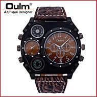 저렴한 -Oulm 남성용 밀리터리 시계 석영 일본 쿼츠 온도계 듀얼 타임 존 가죽 밴드 사치 멋진 블랙 브라운