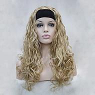 お買い得  -人工毛ウィッグ ウェーブ 密度 キャップレス 女性用 ブロンド カーニバルウィッグ ハロウィンウィッグ ハーフウィッグ 合成