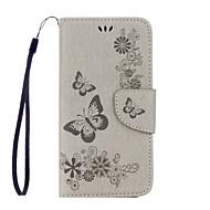 Недорогие Чехлы и кейсы для Galaxy S-Кейс для Назначение SSamsung Galaxy Samsung Galaxy S7 Edge Бумажник для карт Кошелек со стендом Флип С узором Рельефный Чехол Бабочка