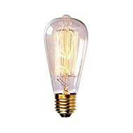 お買い得  -1個 40W E26 / E27 ST58 温白色 2300k レトロ風 調光可能 装飾用 白熱ビンテージエジソン電球 220-240V