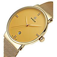 Недорогие Фирменные часы-WWOOR Муж. Наручные часы Кварцевый Японский кварц 30 m Защита от влаги Календарь Фосфоресцирующий Нержавеющая сталь Группа Аналоговый Роскошь На каждый день Мода Серебристый металл -  / Два года