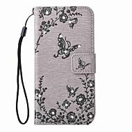 Для Samsung Galaxy S7 Edge Кошелек / Бумажник для карт / Стразы / со стендом Кейс для Чехол Кейс для Бабочка Твердый Искусственная кожа