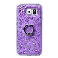 Для Кейс для  Samsung Galaxy Кольца-держатели Кейс для Задняя крышка Кейс для Цветы Твердый Искусственная кожа SamsungS6 edge plus / S6