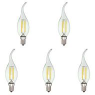 お買い得  LED キャンドルライト-KWB 4W 400lm E12 LEDキャンドルライト C35 4 LEDビーズ COB 調光可能 クールホワイト 110-130V