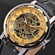 WINNER Мужской Часы со скелетом Наручные часы Механические часы С гравировкой Механические, с ручным заводом PU Группа Cool Черный