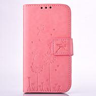 Недорогие Чехлы и кейсы для Galaxy Grand Prime-Кейс для Назначение SSamsung Galaxy Кейс для  Samsung Galaxy Бумажник для карт Кошелек со стендом Рельефный Чехол одуванчик Твердый Кожа