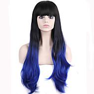 女性 人工毛ウィッグ キャップレス ウェーブ ブルー バング付き ナチュラルウィッグ コスチュームウィッグ