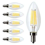 cheap LED Filament Bulbs-6pcs 380 lm E12 LED Filament Bulbs C35 4 leds COB Dimmable Warm White AC 110-130V
