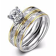 בגדי ריקוד נשים זירקונה מעוקבת שני גוונים סוליטר עגולות טבעת הטבעת טבעת אירוסין זירקון פלדת טיטניום ציפוי זהב אהבה נשים ארופאי אופנתי Fashion Ring תכשיטים כסף עבור חתונה Party / 2pcs
