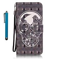 voordelige Galaxy S7 Edge Hoesjes / covers-hoesje Voor Samsung Galaxy S7 edge S7 Kaarthouder Portemonnee met standaard Volledig hoesje Doodskoppen Hard PU-nahka voor S7 edge S7 S6