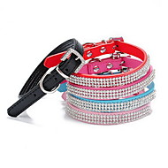 cheap Pet Supplies-Cat Dog Collar Adjustable / Retractable Rhinestone Solid PU Leather Black Rose Red Blue Pink