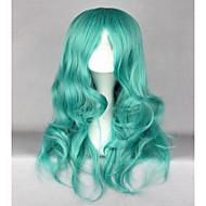 お買い得  -人工毛ウィッグ ウェーブ 合成 グリーン かつら 女性用 ロング キャップレス グリーン